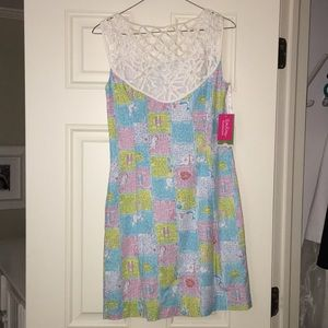 Lily Pulitzer fluorescent patterned dress.
